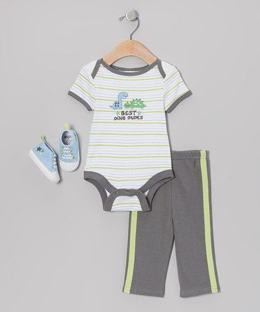 Take a look at this Gray 'Best Dino Dudes' Bodysuit Set by Baby Gear on #zulily today!