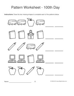 100th Day of School pattern worksheets for kids - black & white shapes, 1-1-2 pattern. Draw the two missing shapes to complete the pattern