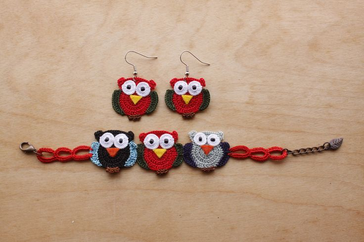 Owl Earring and Bracelet (Available in different colors and sizes)