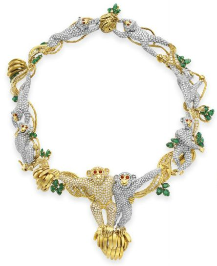 Necklace from a gold, diamond, emerald, and ruby suite by Massoni. Be sure you see the matching earrings. Elizabeth Taylor collection, Christie's.