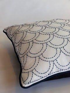 Sashiko pillow; hadn't thought about reversing the thread to navy on a white background