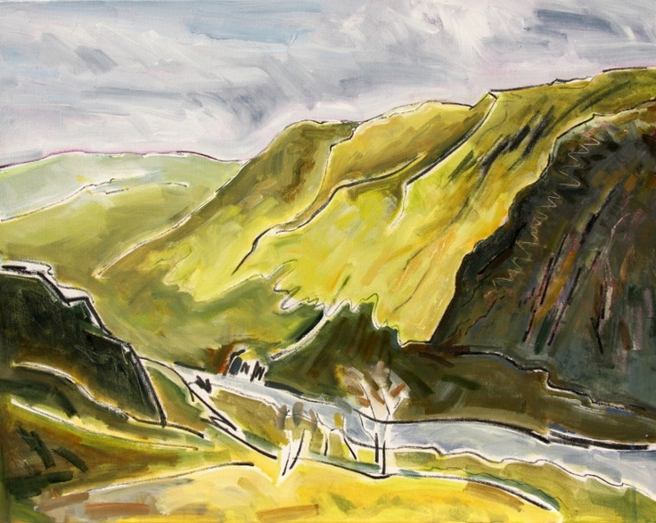 Clive Patterson - This is a steep road that winding over the pass between these steep wild hills. Bright sunlight occasionally catching the dips and folds in the hillside. £800