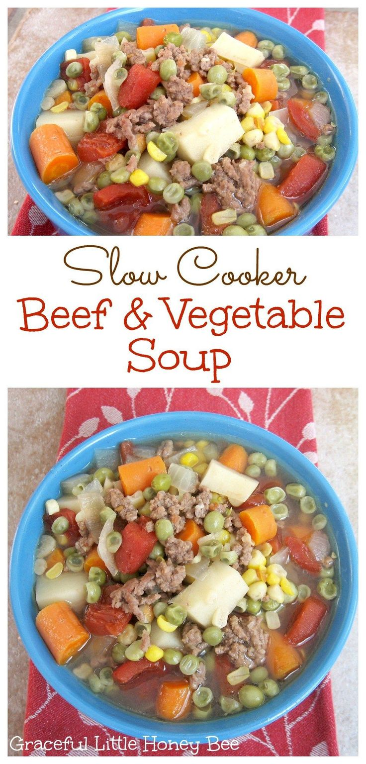 See how to make this easy and delicious Slow Cooker Beef and Vegetable Soup on gracefullittlehoneybee.com paleo crockpot cheap