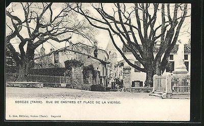 formidable CPA Soreze, Rue de Castres et Place de la Vierge