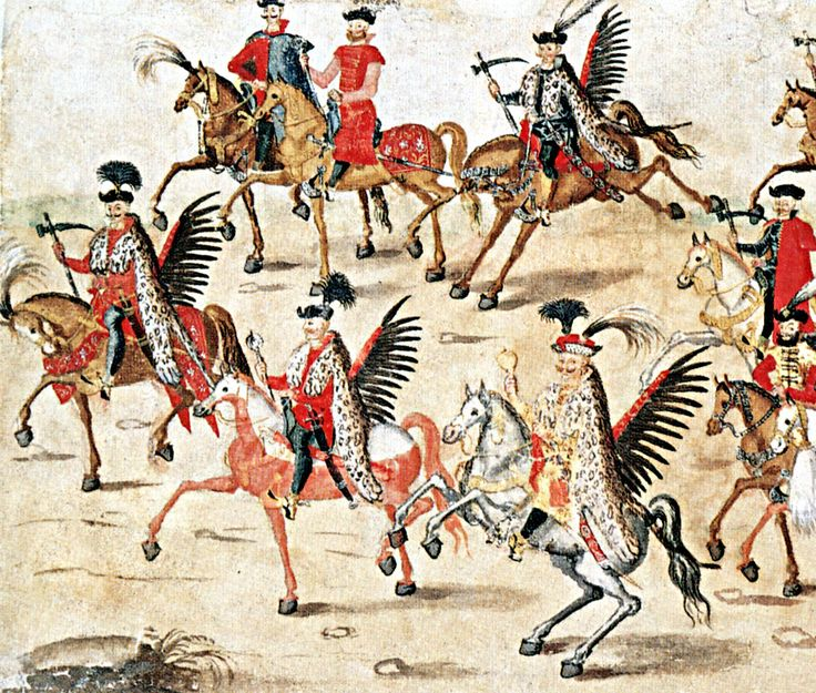 Polish 'Winged Hussars'  http://vivathusaria.pl/wp-content/uploads/2013/05/6.7-Rolka-Sztokholmska-2.jpg
