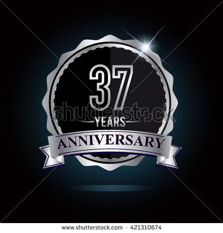 37th anniversary logo with ribbon. 37 years anniversary signs illustration. Silver anniversary logo with ribbon. - stock vector