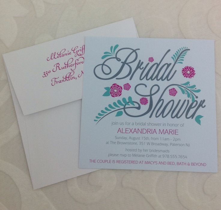Bling Floral Bridal Shower 6 x 6