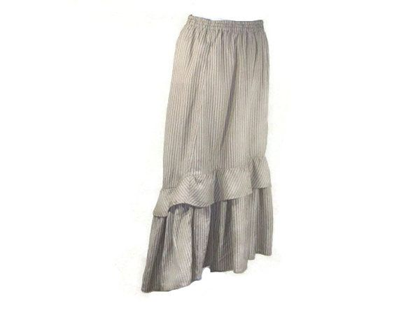 OVERSIZE TIERED  SKIRT Vintage flared and tiered by EuropeanRetro