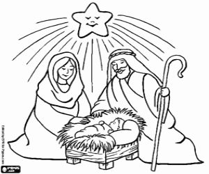 Jesus Mary And Joseph Under The Christmas Star Coloring Page