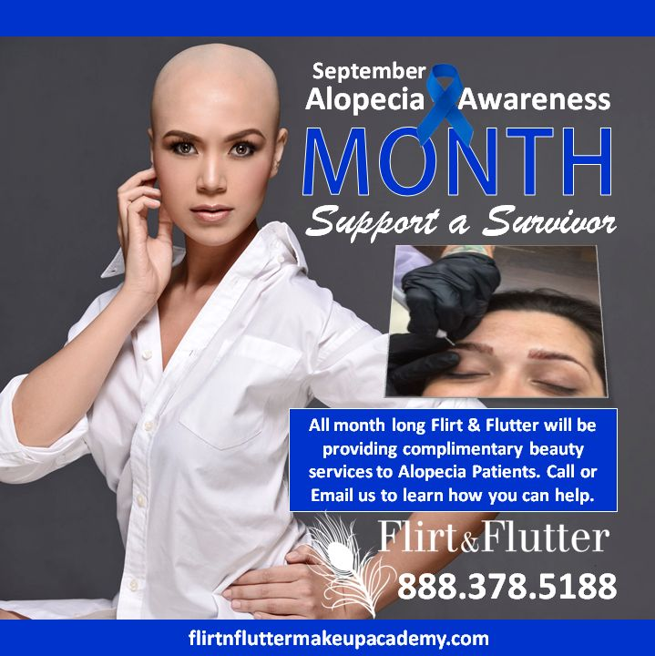 Sponsor a Diagnosed Aloepecia client for the month of September give by  certified Flirt & Flutter Eye Enhancement Specialists. Give the gift of hair stroke eyebrows, eyelash extensions, permanent makeup, and a beautiful wig or weave. Visit any certified Flirt & Flutter Eye Enhancement Specialist for details! Call 888-378-5188