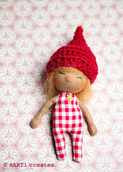 Travel Buddy tiny Waldorf inspired Doll by mARTicreates on Etsy
