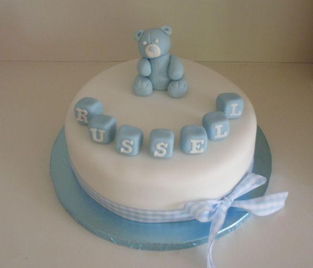 Teddy Baby Boy Birthday/Christening Cake
