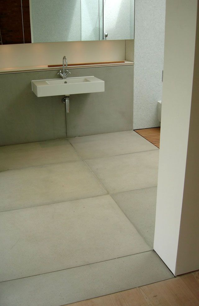 1000 ideas about polished concrete tiles on pinterest the block modern bathrooms and grey tiles for Polished concrete floor bathroom