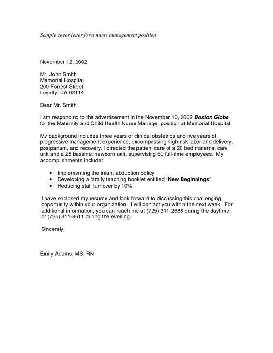 letter format application cover letters sample hospital doctor - recovery nurse sample resume