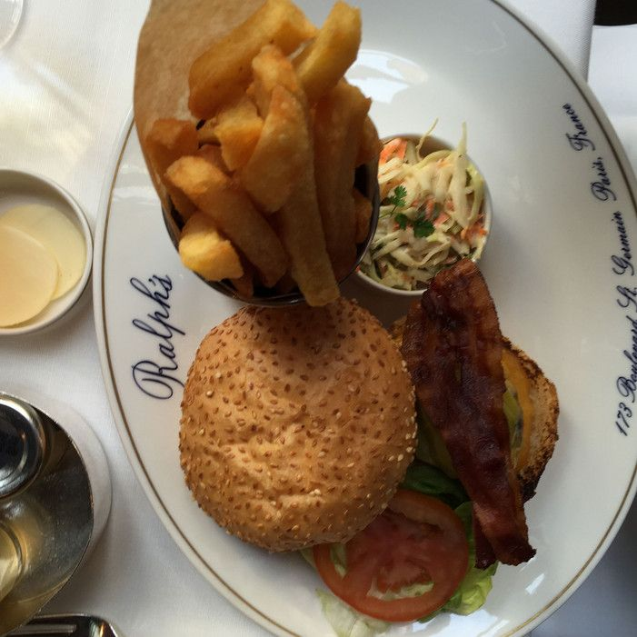 Lunching at Ralph's today—the best burger in Paris, hands down!