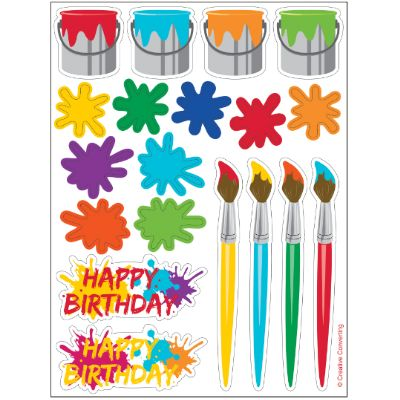 Art Party Sticker Sheets - 4 Sheets Party Supplies Canada - Open A Party