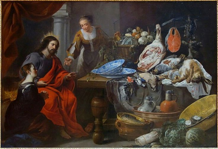 Erasmus Quellinus II (1607–1678) and Jan Fyt (1611–1661) Figures by Quellinus; still life by FytTitleJesus in the house of Martha and MaryDate1650-1675Mediumoil on canvasDimensionsHeight: 113.2 cm (44.6 in). Width: 163.5 cm (64.4 in).Current location Palais des Beaux-Arts de Lille
