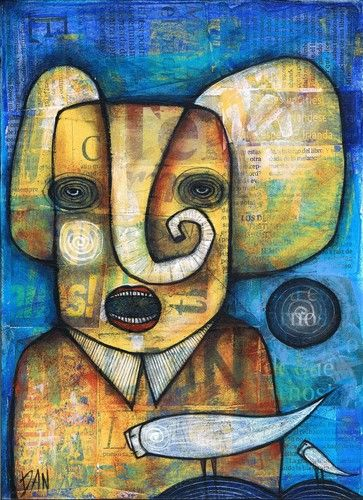 DAN-CASADO-outsider-folk-raw-art-ELEPHANT-TALK-original-collage-painting-wood