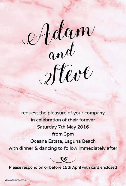 Pink Marble Invitation from our Contemporary collection x