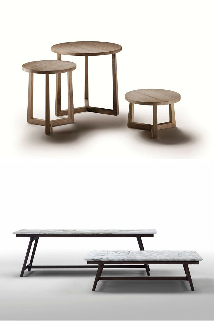 (top) #FLEXFORM Jiff #Table – Frame and top in solid #wood. | (bottom) FLEXFORM Giano Table – Frame in solid #wood and top in wood or #marble. #SatarianoHome
