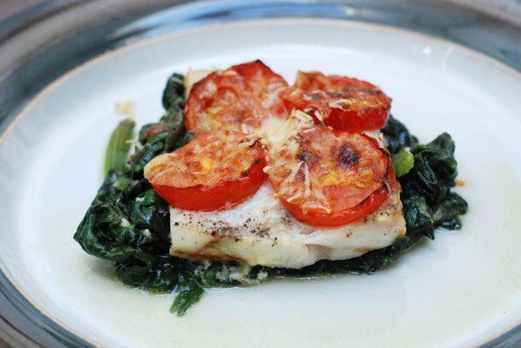 Fotorecept: Pečené rybacie filé s parmezánom a špenátom