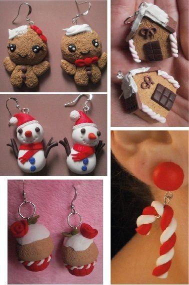 fimo polymer clay orecchini earrings natale christmas