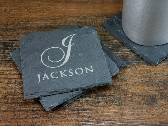 Personalized Slate Coaster Set Monogramed by EventCityDesign