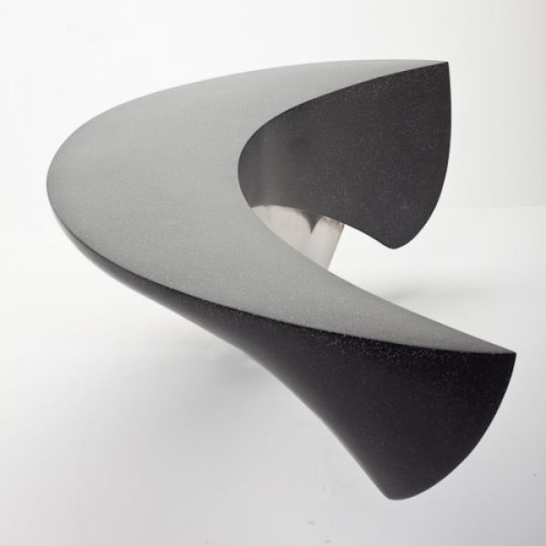 Marble composite and stainless steel Abstract Garden sculpture by artist Ben Barrell titled: 'Crescent Bench (marble Composite Garden Art Sculptures)' £4,800