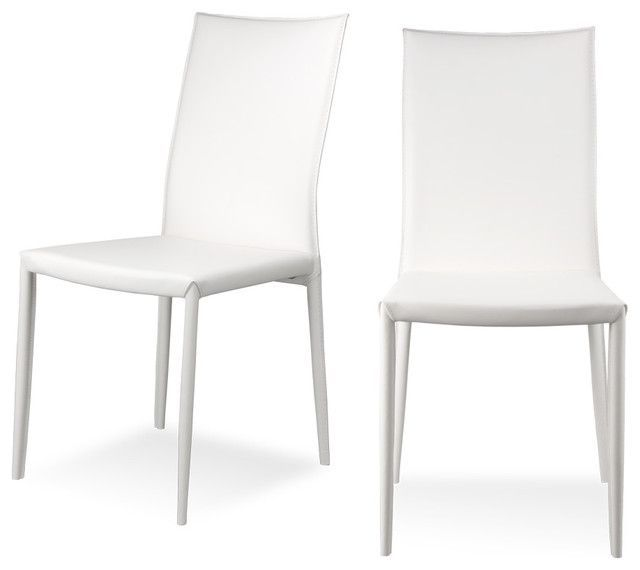 Contemporary White Dining Chairs Modern Dining Room Set Leather