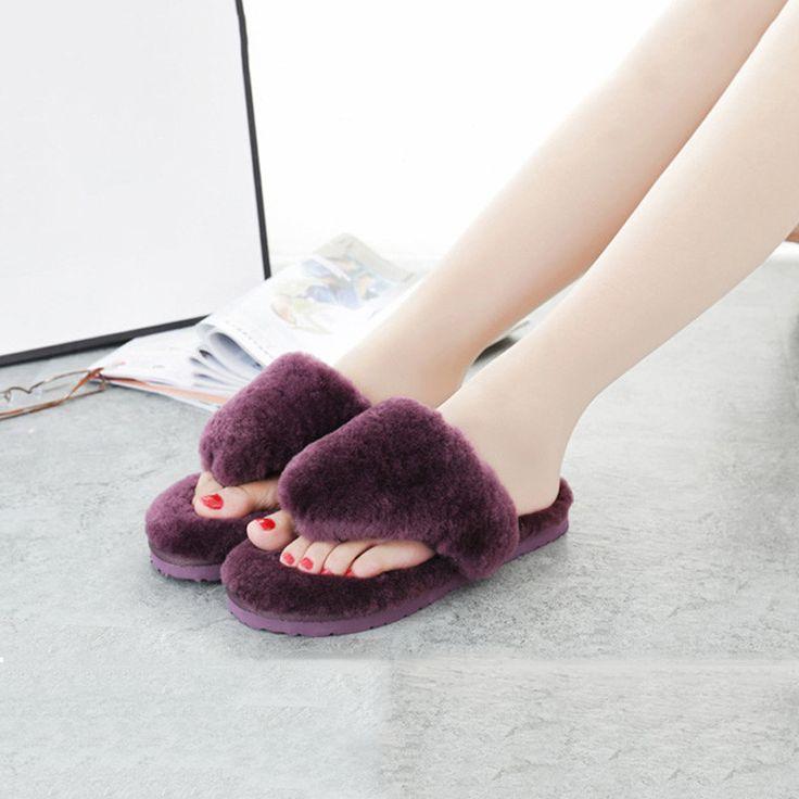 2017 Fashion Furry Flip Flops Women Home Slipper New Summer House Fur Slippers Ladies Cute Indoor Female Sheepskin Plush Slipper