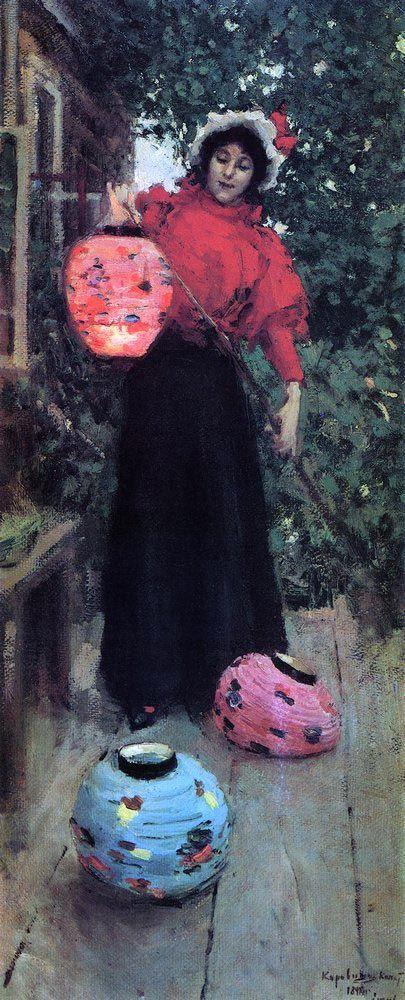 Константин Коровин «Бумажные фонари». Описание картины