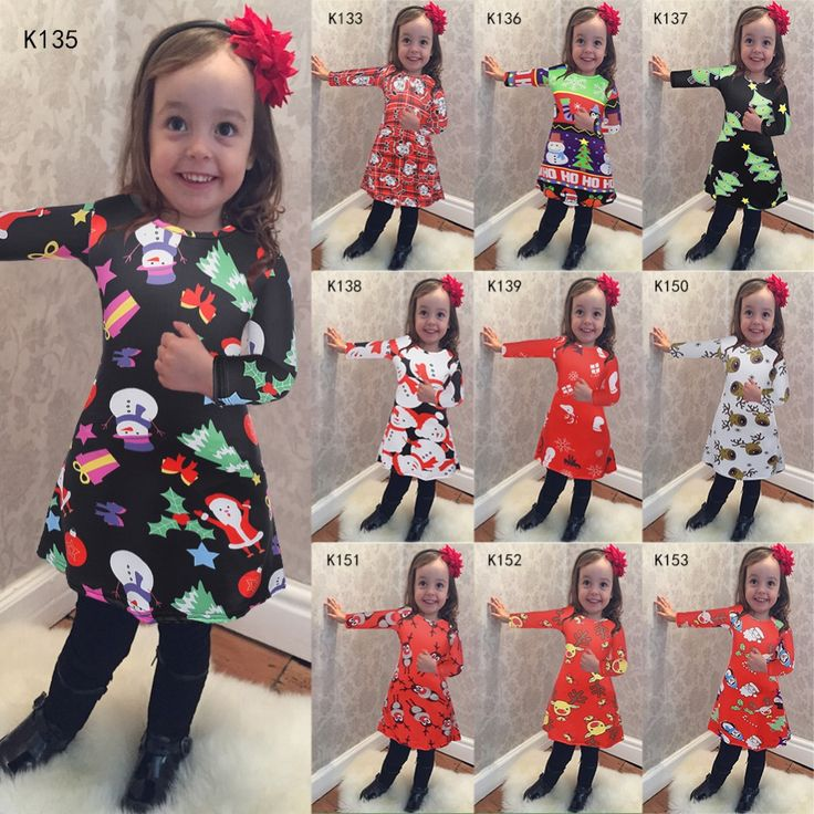 2016 New Christmas Dress Europe and United States Christmas Elements tree/deer/snowman Digital Printing Christmas Dress For Girl #Affiliate