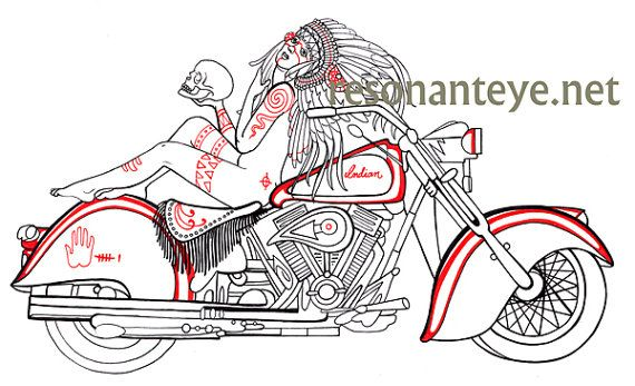 Classic indian motorcycle biker art pinup girl by for Indian motorcycle tattoo