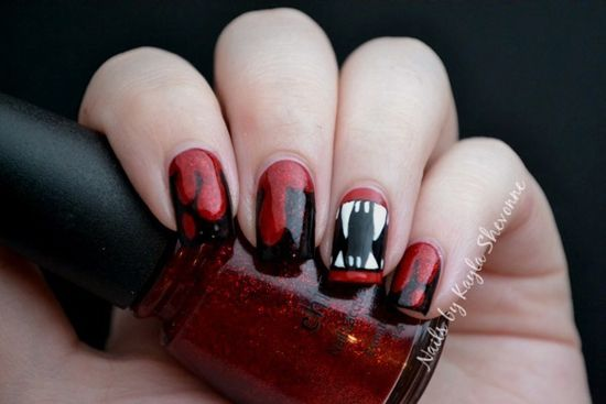 Vampire fangs and blood by Kayla Shevonne - 25 Fun Halloween Nail Art Ideas