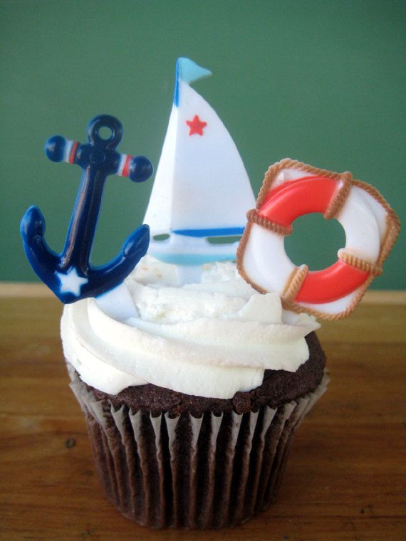 Nautical Cupcake Topper Ring- (12) Boat and Ocean Cupcake Rings for a Boat Party on Etsy, $3.75