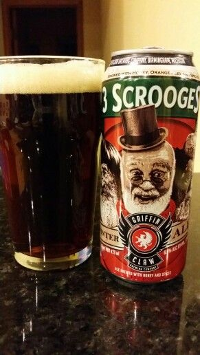 Griffin Claw's 3 Scrooges Winter Ale. Honey, orange, and spices make for interesting brew, but not likely for everyone.