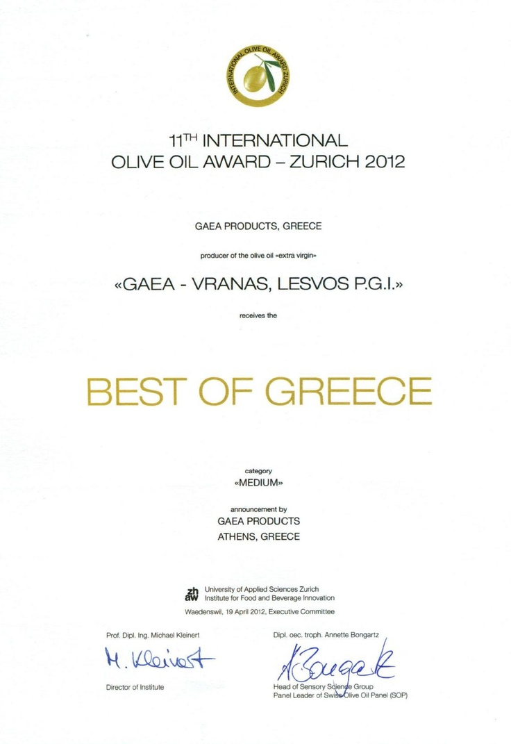 Gaea's Vranas, Best of Greece Award!