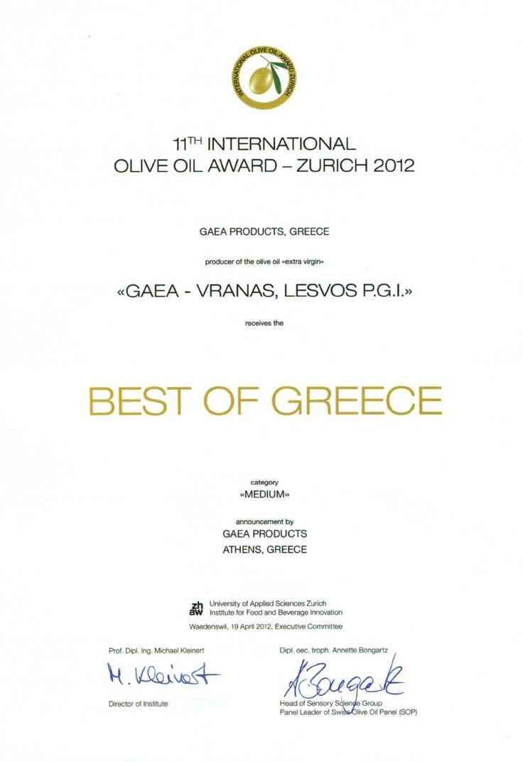 Gaea's Vranas, Best of Greece Award!