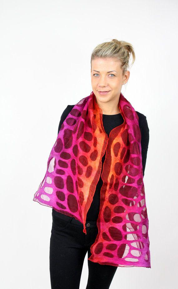 art felted scarf felt scarf wool silk lace by KateRamseyFelt