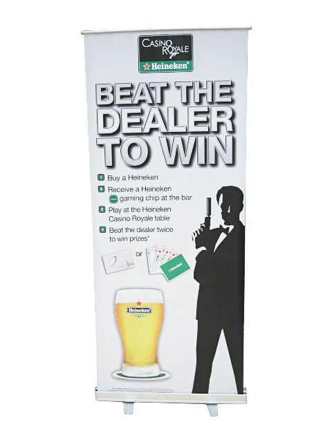 Affordable roll up stand for Heineken.