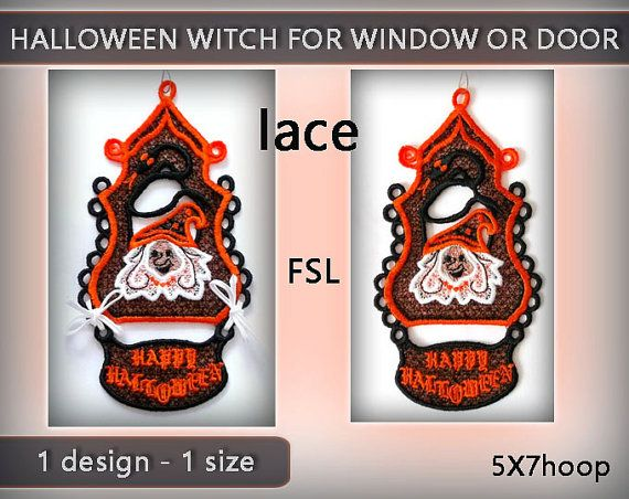 Witch halloween decoration lace for window or by EmbroideryRady