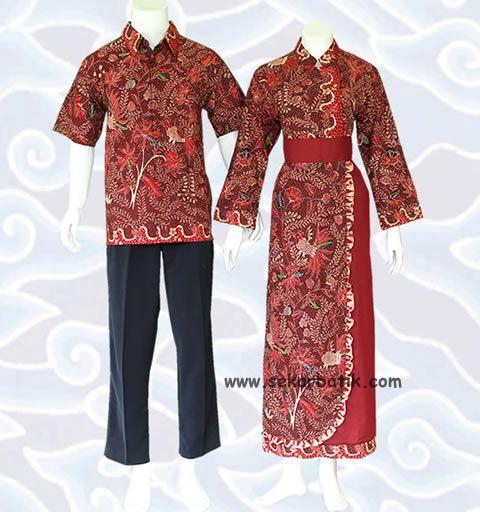 gamis batik sarimbit muslim modern marun SGB59 murah koleksi toko online http://sekarbatik.com/gamis-sarimbit/