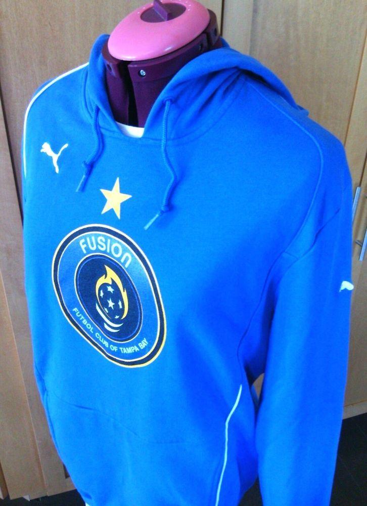 Puma Hoodie Pullover Soccer Top Football Size M Blue Fusion Futbol Tampa Bay USA | eBay