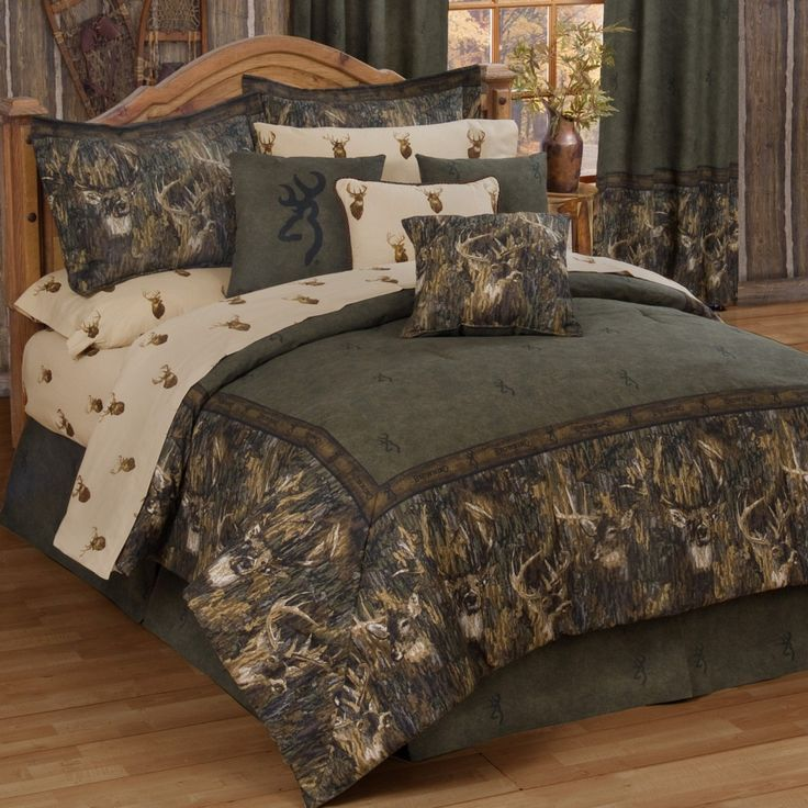 camo bedroom sets | Kimlor Mills Browning Whitetails Deer Comforter Set. I think Jaydon would like this for his hunting themed bedroom he wants!