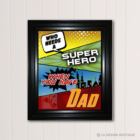 Fathers Day Gift DIY fast and easy $5 Personalized DAD Typography Art Who needs a super hero when you have Dad by LaDesignBoutiqueShop