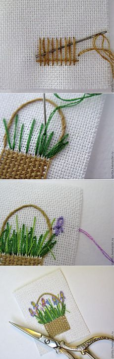 embroidered basket of flowers