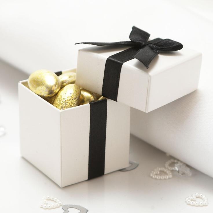 Luxury Black Ribbon Favour Boxes - 10 Pack