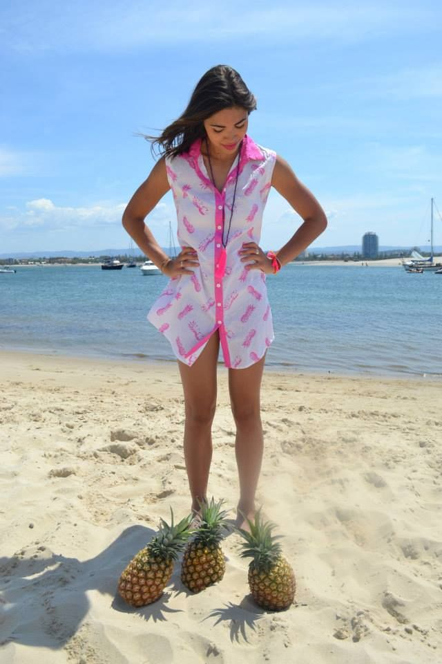 Pineapple nightie. $45.00 sizes S, M, & L. Email alongcamepoppet@gmail.com to order. #pineapple #pjs #beach #pink