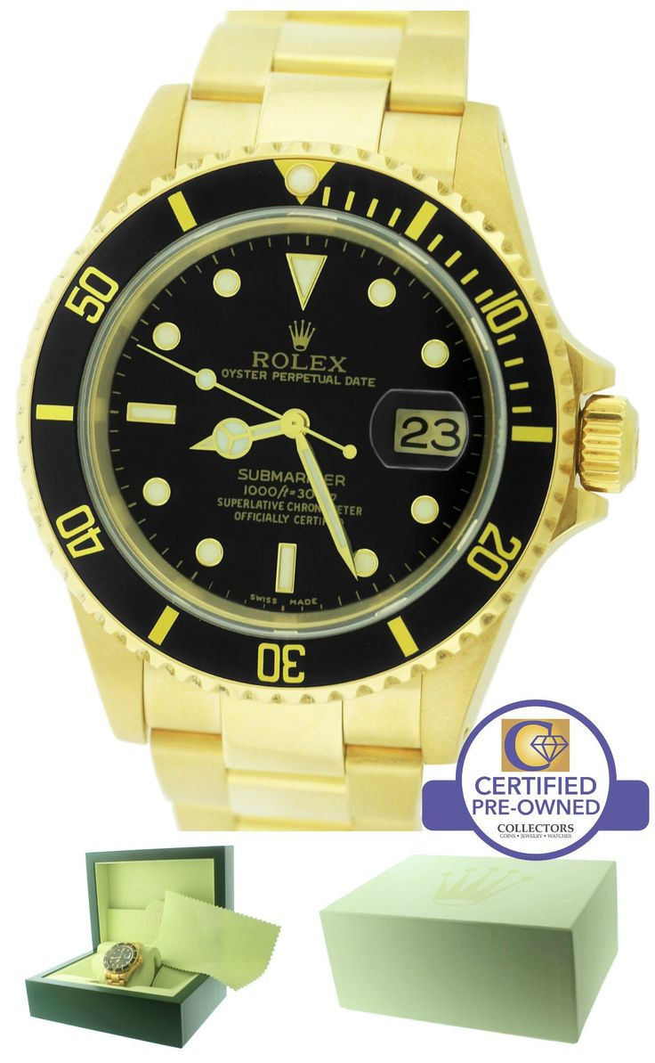 MINT Mens 2002 Rolex Submariner Date 16618 18K Yellow Gold Black 40mm Dive Watch