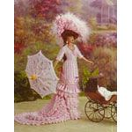 """1875 Mother's Sunday Frock. Dresses of that time were form fitting from shoulder to knee with all of the fullness and fussiness condensed at the hem. Known as a """"curasse"""", fitted jacket is designed in a summery pink and white stripe. The jacket is wrapped in a beautifully beribboned scarf edged in a row of tiny tassels. Miniature buttons close at the front. A huge ribbon carnation gives a low bustle effect at the derriere. The underskirt is a cascade that trails elegantly at the back."""